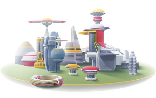 Иллюстрация «город будущего»