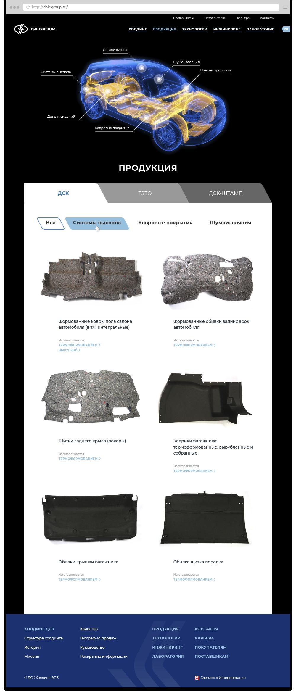 Продуктовая страница сайта.